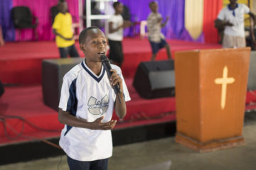 Mwita sings in his church now and helps lead other children. He has a desire to help other children like him find hope in Christ.