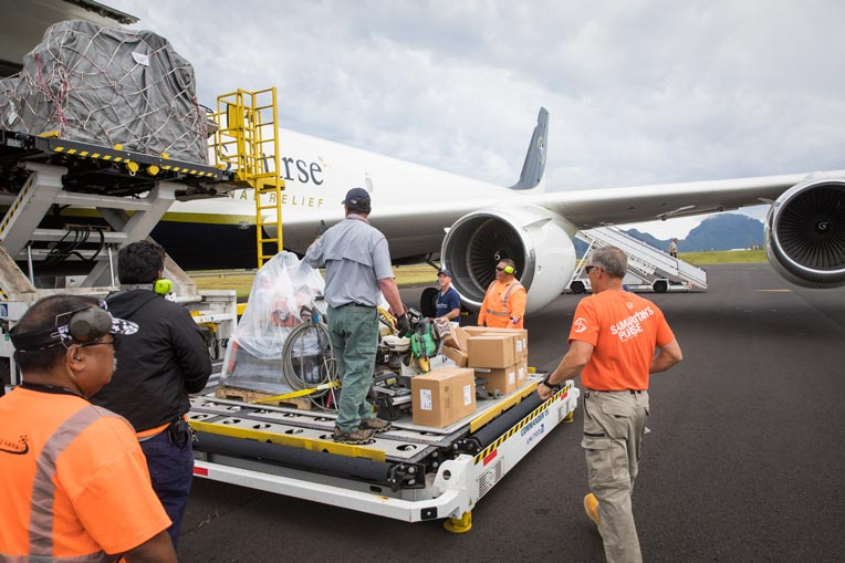 Our DC-8, packed with supplies,  arrived in Kauai on May 2.