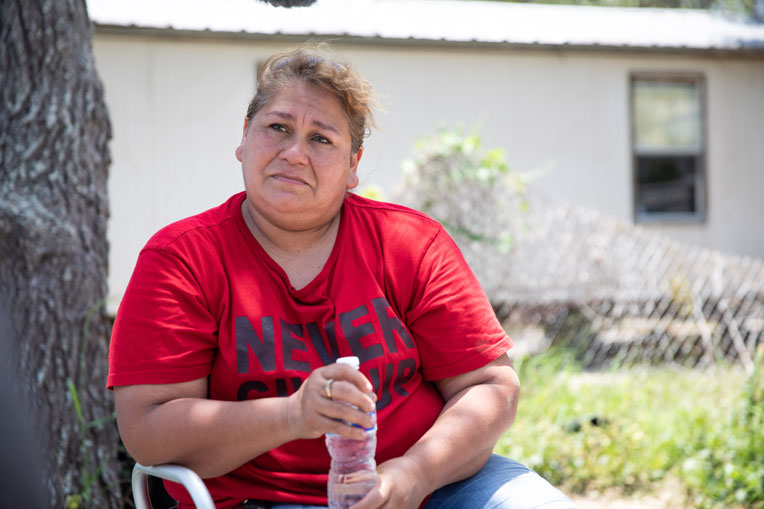 Claudia Dominguez's mobile home was damaged beyond repair by Hurricane Harvey. She is one of many residence who will receive a mobile home from us this month.