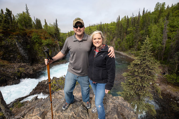 Mark and his wife Tabitha hiked to the top of Tanalian Falls.