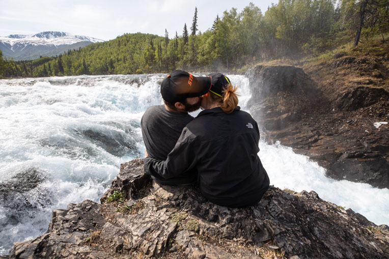 Couples enjoyed some special moments in the midst of beautiful surroundings, like the top of Tanalian Falls.