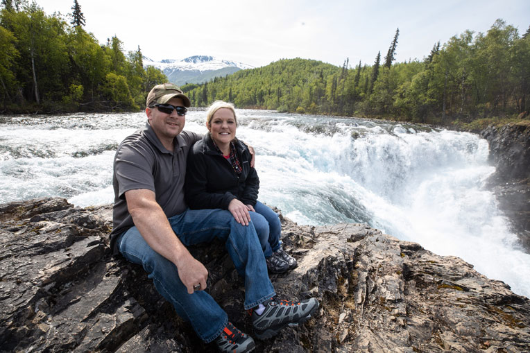 Marine Sergeant Mark and Tabitha Smith climbed to the top of Tanalian Falls. Mark lost his left leg below the knee due to a land mine in Iraq. He later served in Afghanistan (with a prosthetic) and now serves as a Georgia State Trooper.