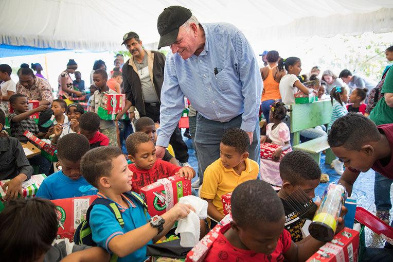 Franklin Graham led four Operation Christmas Child outreach events in the Dominican Republic.