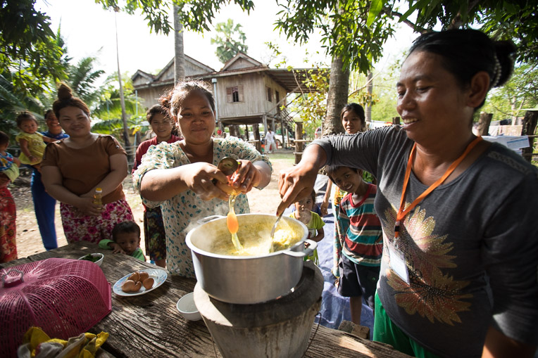 In Cambodia, we're teaching mothers in remote villages how to cook healthy meals for themselves and their children.