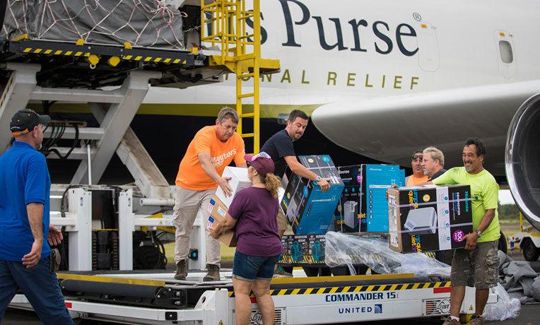 Unloading relief supplies in Hawaii