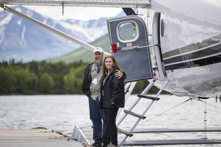 Army Chief Warrant Officer 2 Rich Reid and his wife Ruth get ready for a plane ride out to Katmai National Park for a day of wildlife viewing.