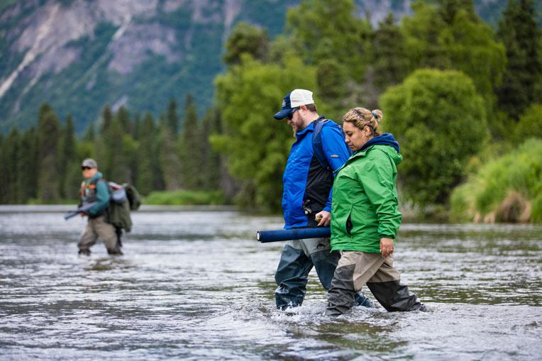 Marine Sergeant Landon and Jessica Beck fishing in Kijik River.
