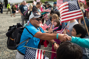 Army Sergeant Larry Kaibetoney receives a hero's welcome at Samaritan Lodge Alaska.