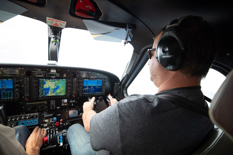 Army Sergeant Leroy Watkins gets to fly the floatplane during an excursion into Lake Clark National Park.