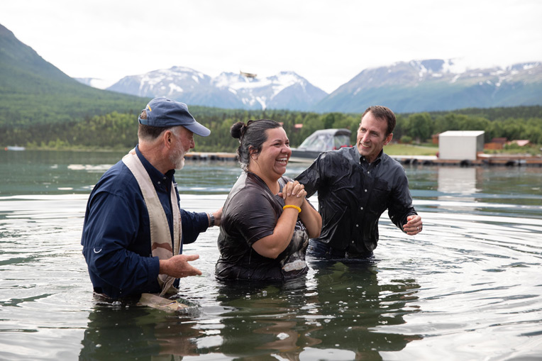 Angie Watkins, wife of Army Sergeant Leroy Watkins, joined two others in baptism during Week Six in Alaska.