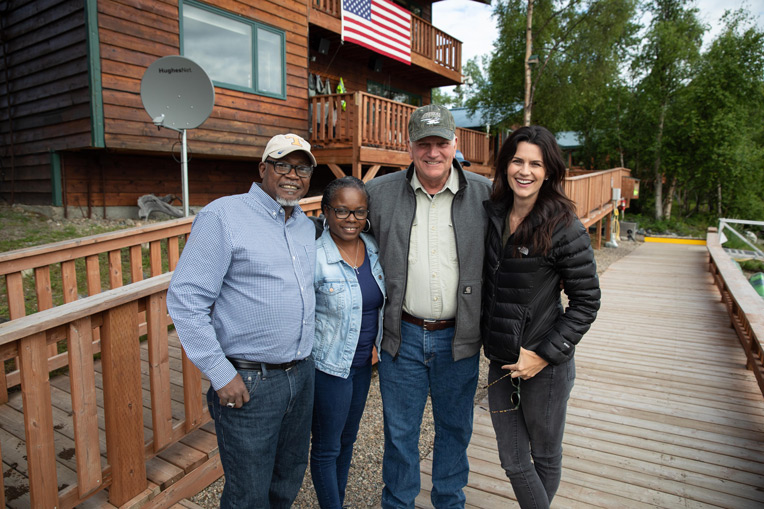 Franklin Graham and daughter Cissie Graham Lynch meet with Army Staff Sergeant Leroy White and wife Virginia at Samaritan Lodge.