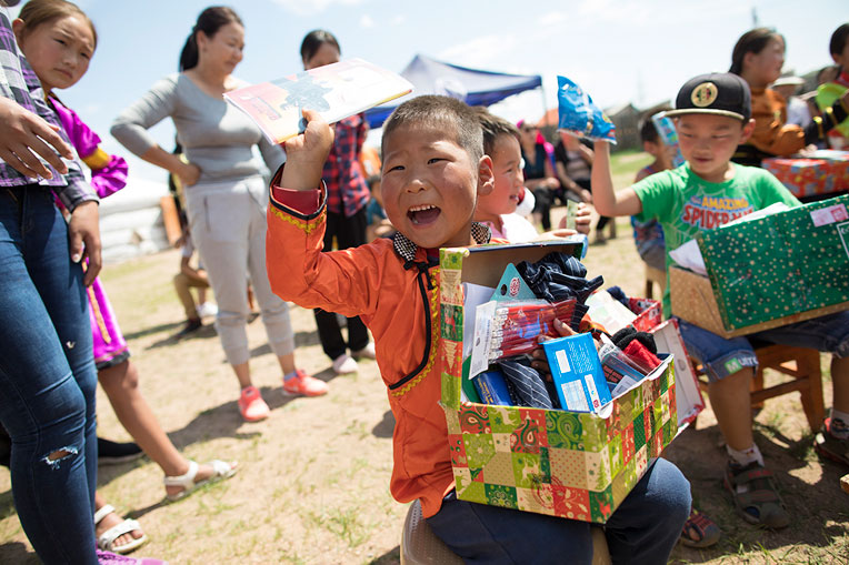 These children in Mongolia were thrilled to receive special gifts in their Operation Christmas Child shoeboxes.