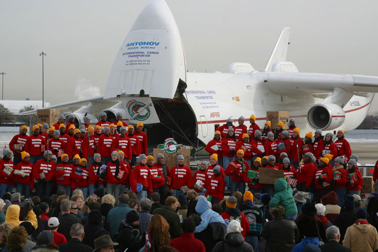 In 2002, Samaritan's Purse chartered an Antonov AN-225, known as the world's largest cargo jet, to transport 80,000 shoebox gifts for Ugandan children.