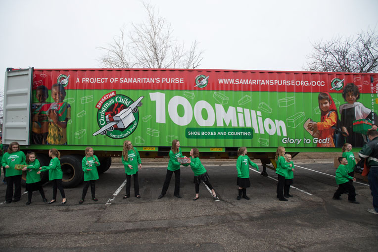 In 2013, to celebrate exceeding 100 million shoeboxes collected since the project began, we hosted a special celebration in Orlando that drew 10,000 attendees, including Operation Christmas Child volunteers from 102 countries.