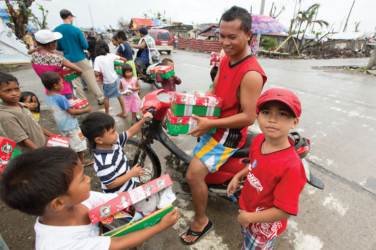 In 2013, after Typhoon Haiyan wreaked havoc on the Philippines with the most powerful winds ever recorded, Samaritan's Purse multifaceted emergency disaster response included blessing 65,000 Filipino children with shoebox gifts.