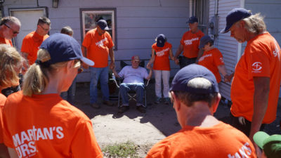 Volunteers provided a signed Bible and prayed for Dean Calkins after completing work on his home. A short time later, Dead Calkins received Jesus as his Lord and Savior.