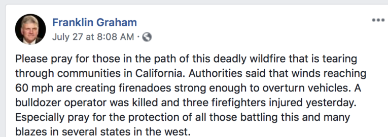 Facebook post by Franklin Graham