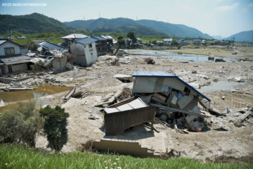 This July 20 photo shows destruction along the Odagawa River in Okayama Prefecture.
