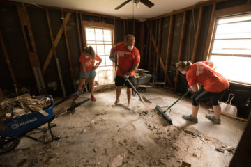 Our volunteers cleaned mud and debris out of homes hit by the flood dropped by Hurricane Harvey.