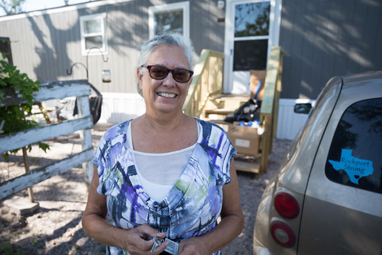 Rockport resident Lore Norsworthy lost her mobile home when Harvey made landfall. We provided her a new mobile home earlier this year.