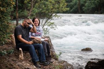 Marine Master Sergeant Al Aranda and his wife LeeAnn enjoy the beautiful Tanalian River during a hike to Tanalian Falls.