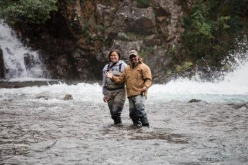 Marine Master Sergeant Al Aranda and his wife LeeAnn enjoy fly fish together in the Tanalian River near Tanalian Falls.