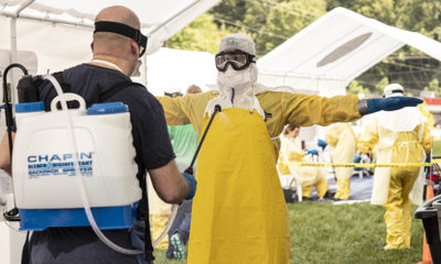 Samaritan's Purse staff members practice donning and doffing personal protective equipment at a recent Ebola preparedness training in Wilkesboro, North Carolina.