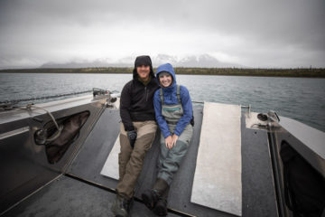 Jesse and Shawna Watkins enjoy an afternoon on our boat the Jay Hammond, cruising and fishing in Lake Clark.