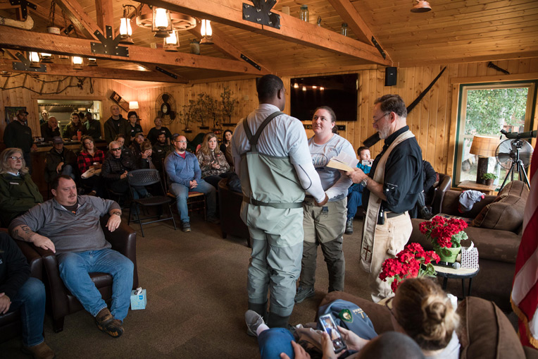 Army Staff Sergeant Thomas Weaver and his wife Sarah joined four other couples in recommitting their marriages to God.