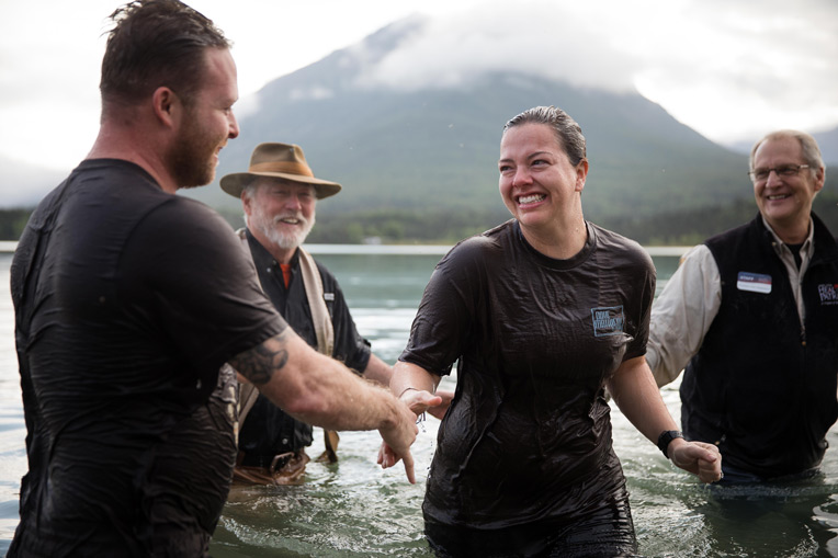 Marine Staff Sergeant Rich Delarosa-Buglewicz and his wife Lindsey received Jesus Christ as their Lord and Savior last week and were baptized in Lake Clark.