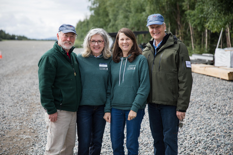 Chaplain Jim Fisher (left) with wife Lori and Chaplain Dan Stephens with his wife Linda serve each year at Samaritan Lodge Alaska.