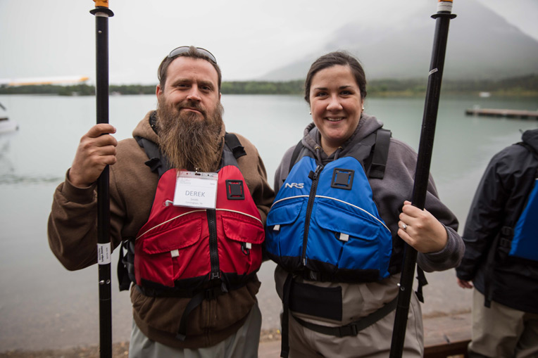 Army Sergeant Derek Smith and his wife Julie enjoyed kayaking on Lake Clark.