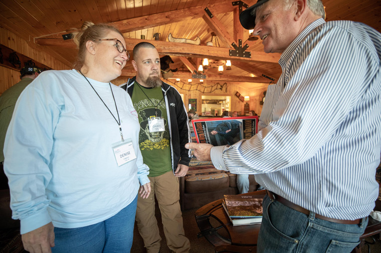 Franklin Graham met Army Sergeant Chuck Cleghom and his wife Denise at Samaritan Lodge Alaska.