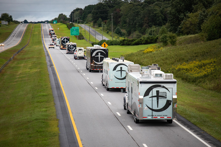 Samaritan's Purse deployed U.S. Disaster Relief trucks and trailers Sept. 15 to respond to the Carolinas after Hurricane Florence.