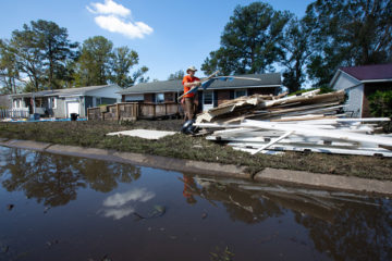 The remains of floodwater still fill many streets where our volunteer teams are cleaning out flooded homes in Jacksonville, N.C.