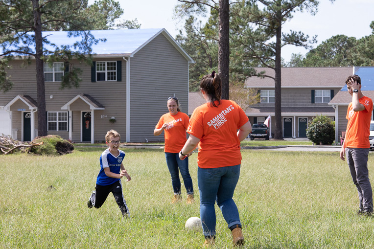 Sometimes signing up as a Samaritan's Purse volunteer means jumping in on a quick soccer match.