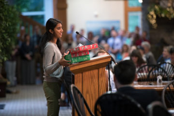 Giftlin speaks at Samaritan's Purse International Headquarters about the joy of receiving an Operation Christmas Child shoebox gift.