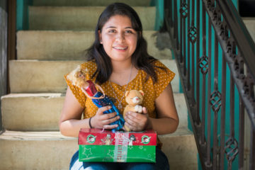 Jazmin named the teddy bear she received in her shoebox gift Hope because that's what she found through the letter inside that God used to work in her heart.