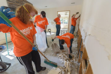 Volunteers began work on  Jeremy and Kristy Kulberg's New Bern home shortly after Hurricane Florence passed through.