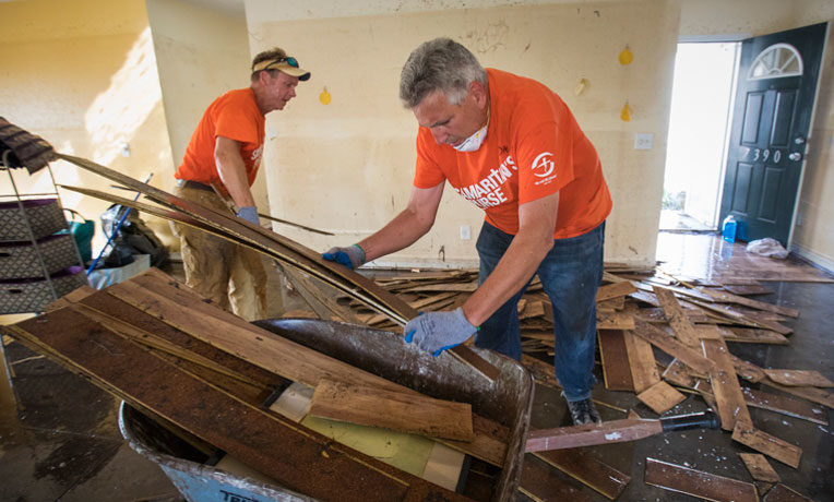 Samaritan's Purse volunteers mud-out a home in Leland that sustained 30 inches of water.