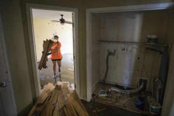 Homes in Leland required a mud-out in order to remove damaged walls and flooring.