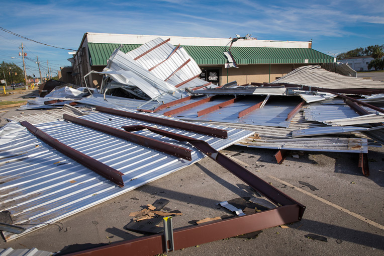 Wind damage is evident throughout Albany, Ga., where Hurricane Michael passed through this week.