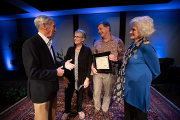 """Dr. Read Vaughan and his wife Suzie were presented with the """"In the Footsteps of the Great Physician"""" award by Becky Williams and World Medical Mission co-founder Dr. Richard Furman."""