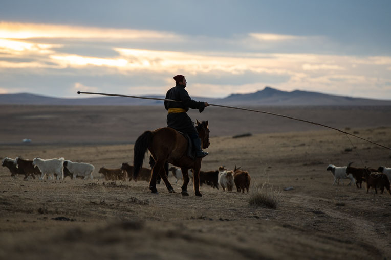 Horsemen like this one are a common site in the grasslands of Mongolia's Tuv Province.