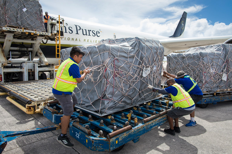 Samaritan's Purse airlifted 30 tons of supplies on our DC8 aircraft to typhoon-torn Saipan, the most populous of the Mariana Islands, a U.S. commonwealth in the western Pacific Ocean.