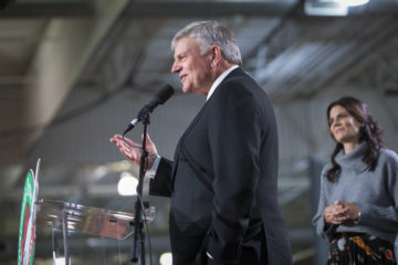 Franklin Graham at Charlotte Operation Christmas Child processing center event in Charlotte
