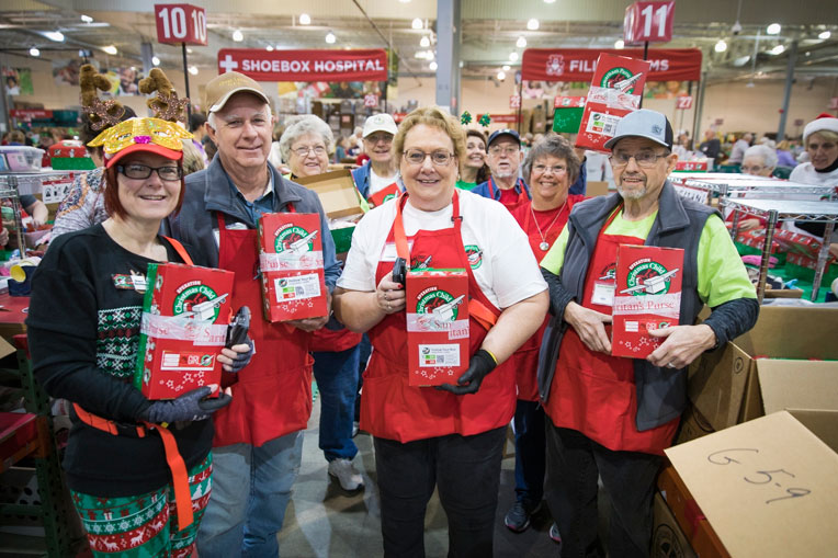 We are thankful to God for every volunteer who helps process shoebox gifts.