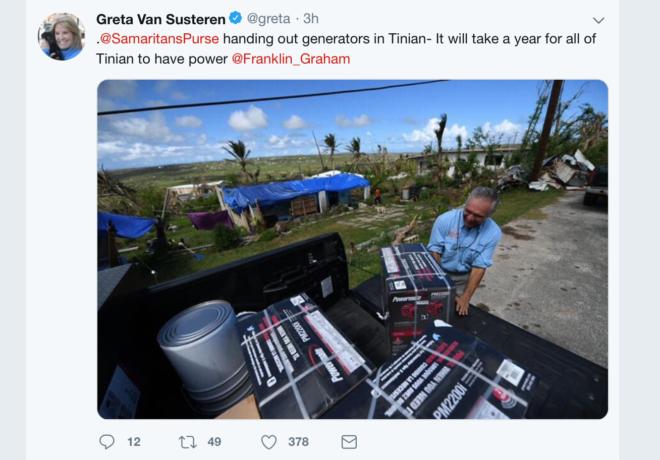 Twitter Greta Van Susteren post Tinian generators