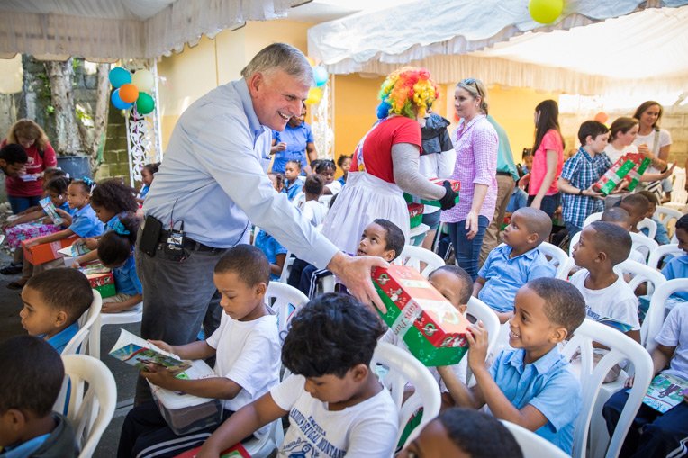 Franklin Graham helped share the love of Jesus during an Operation Christmas Child shoebox distribution in Dominican Republic.