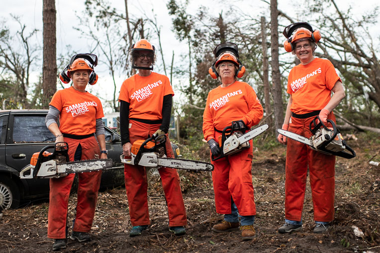 Chainsaw work was a major need after Hurricane Michael slammed into the Florida panhandle and toppled trees across many homes.